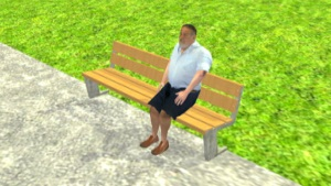 Graphical image of a man on a bench