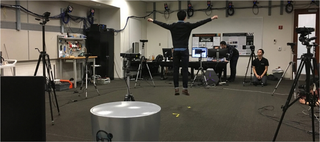 Photo of a student Jumping in the MOCA laboratory